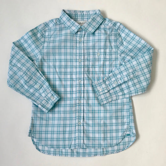 Marie-Chantal Turquoise And White Check Cotton Shirt: 5 Years