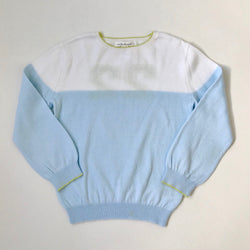 Marie-Chantal Pale Blue, White And Lime Cotton Jumper: 5 Years