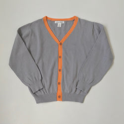 Marie-Chantal Grey And Orange Cotton Cardigan: 6 Years