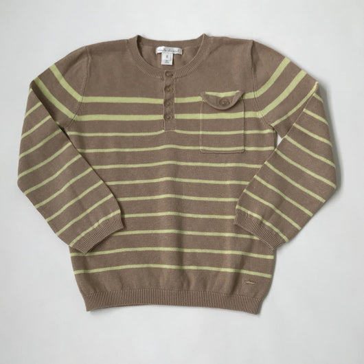 Marie-Chantal Taupe And Lemon Yellow Stripe Linen/ Cotton Mix Jumper