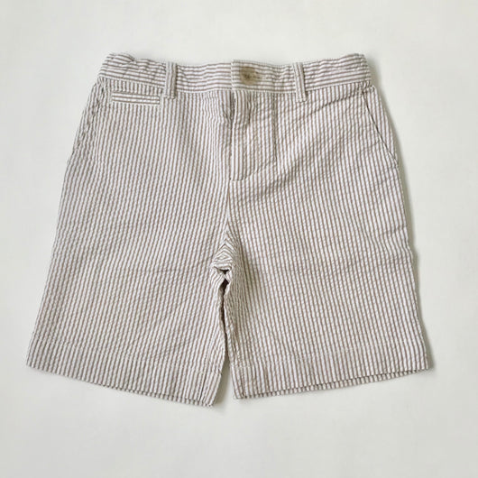 Marie-Chantal Taupe And White Seersucker Shorts