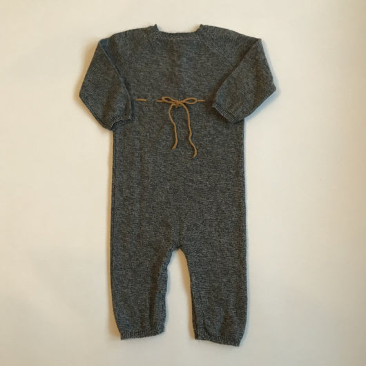 Bonpoint Grey Wool All-In-One With Mustard Trim: 12 Months