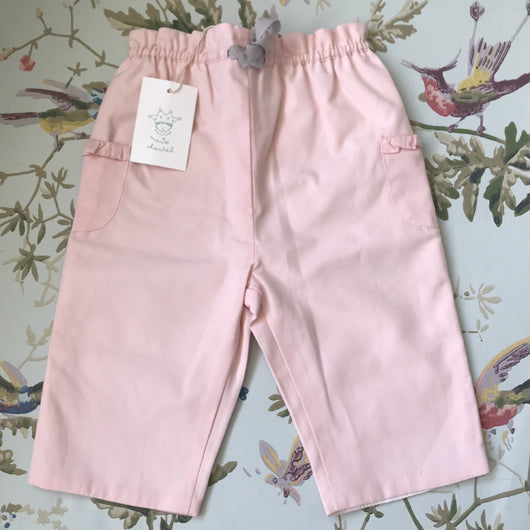 Marie-Chantal Pale Pink Cotton Trousers: 6 Months (Brand New)