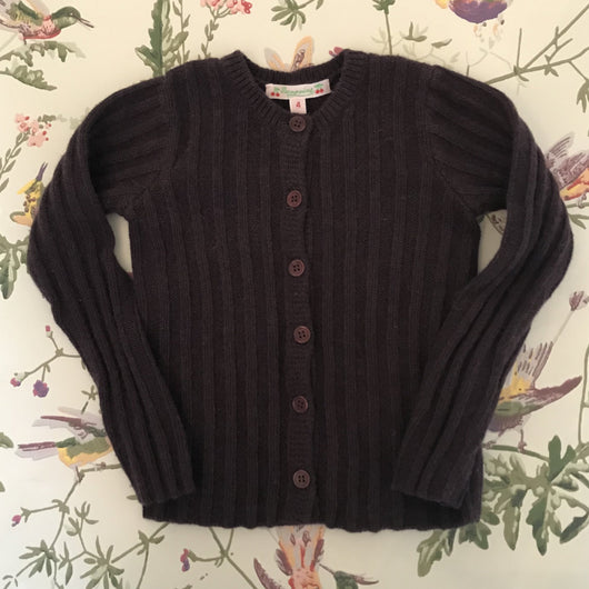 Bonpoint Plum Wool/ Angora Mix Ribbed Cardigan