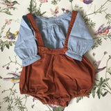 Caramel Rust Cord Romper With Straps: 6 Months