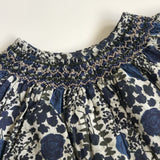 Bonpoint Navy Hand Smocked Liberty Print Blouse