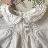 Bonpoint White Cotton Blouse With Pintuck Detailing And Lace Trim Collar