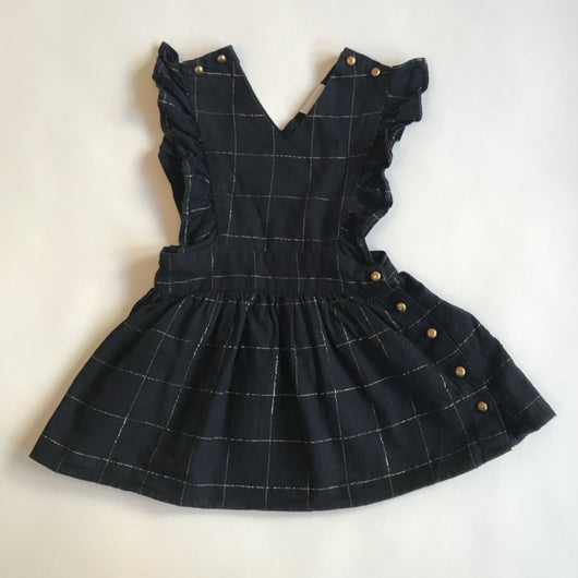 Louis Louise Navy And Gold Check Pinafore Dress