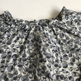 Bonpoint Grey Liberty Print Blouse With Gathered Neckline