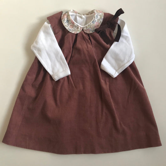 Bonpoint Mulberry Fine Cord Pinafore Dress With Ribbon Trim: 18 Months