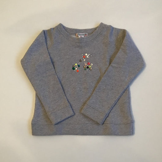 Bonpoint Grey Sweatshirt With Crystal Cherry Embellishment