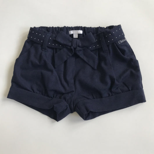 Chloé Navy Shorts With Studded Bow Belt