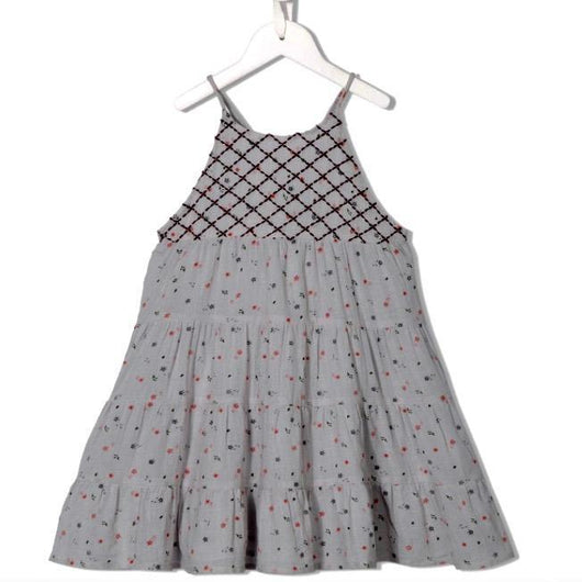 Velveteen Cotton Floral Print Sundress With Embroidery: 8 Years