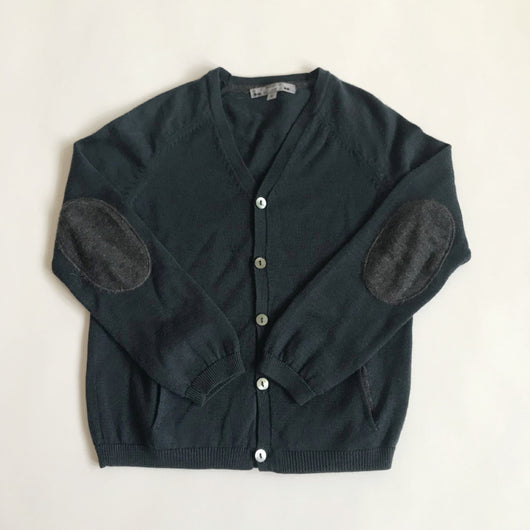 Bonpoint 100% Wool Teal Cardigan With Grey Contrast Pockets: 6 Years