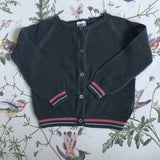 Bonton Dark Teal Cotton Cardigan With Pink And White Trim: 2 Years