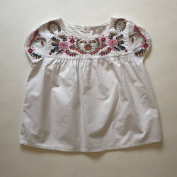 Bonpoint White Summer Blouse With Embroidery