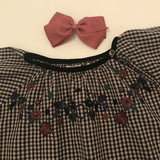 Caramel Black Check Dress With Embroidery: 6 years