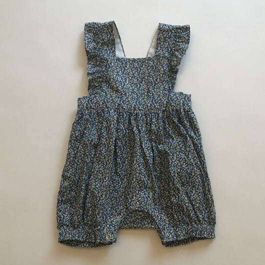 Olivier Baby Liberty Print Romper With Ruffle Straps