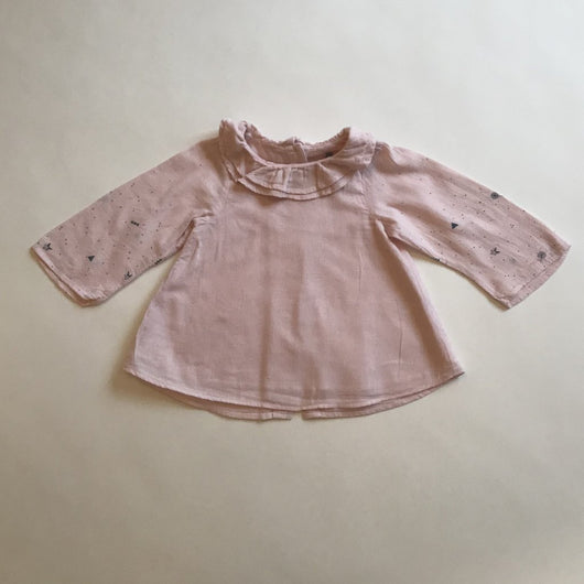 Tia Aina Pink And Grey Cotton Dress With Ruffle Collar: 12 Months