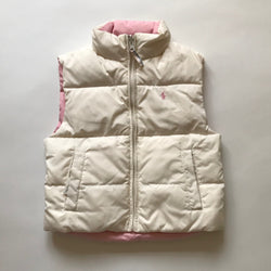 Ralph Lauren Pink & White Down Filled Reversible Gilet