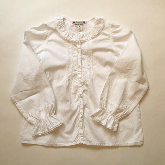 Bonpoint White Cotton Blouse With Lace Trimmed Collar