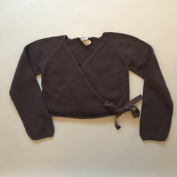Bonpoint Mulberry Cross-Over Cardigan With Ribbon Tie: 6 Years