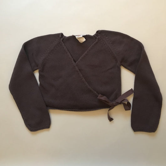 Bonpoint Mulberry Cross-Over Cardigan With Ribbon Tie