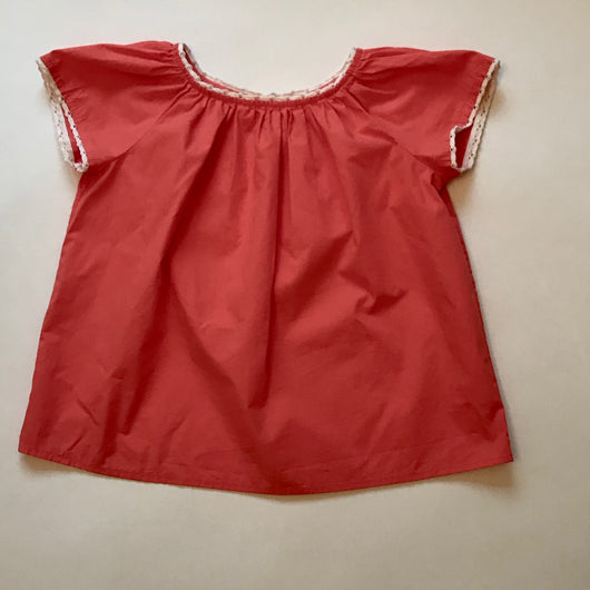 Bonpoint Coral Cotton Blouse With Contrast Crochet Trim: 6 Years