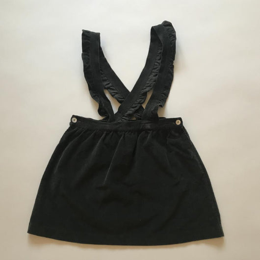La Coqueta Dark Khaki Cord Skirt With Frill Straps