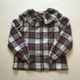 La Coqueta Tartan Blouse With Frill Collar