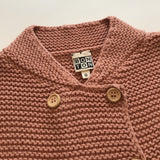 Bonton Dusty Pink Thick Cotton Mix Cardigan With Wood Buttons: 6 Years