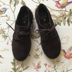 Papouelli Brown Suede Brogues: Size 34