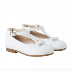 Il Gufo White Mary-Jane Style Shoes With Bow: Size 22 (Brand New)