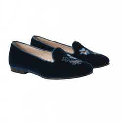 Il Gufo Teal Velvet Slip On Shoes: Size 33