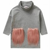 Il Gufo Grey Fleece Dress With Pink Faux Fur Pockets: 2 Years