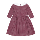La Coqueta Mulberry And White Polka Dot Dress With Frill Collar: 9 Years