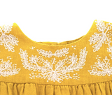 Bonpoint Ochre Dress With Embroidery