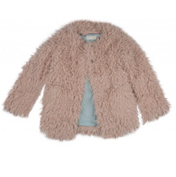 Outside The Lines Pale Pink Faux Fur Coat