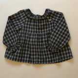 Bonpoint Grey Check Blouse With Frill Collar