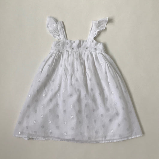 I Love Gorgeous White And Silver Cotton Dress With Bead Trim