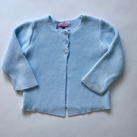 La Coqueta Pale Aqua Cotton Rib Cardigan