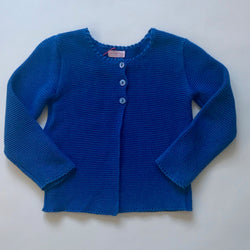 La Coqueta Royal Blue Cotton Rib Cardigan: 4 Years