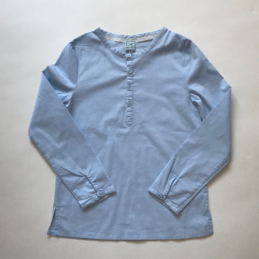 C de C Pale Blue Cotton Collarless Shirt