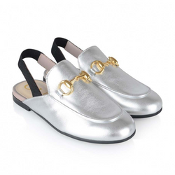 Gucci Silver Slingback Princetown Loafers Size 32