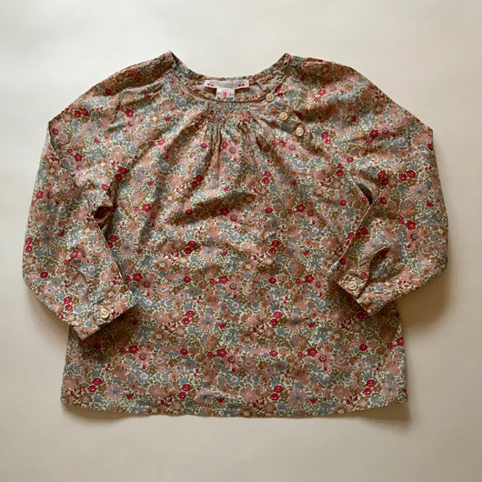 Bonpoint Liberty Print Blouse With Smocking And Button Detail