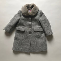 Il Gufo Grey Tweed Coat With Faux Fur Collar