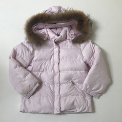 Moncler Pale Pink Down Coat With Fur Trim