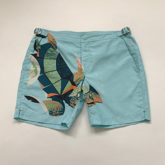 Orlebar Brown Turquoise Turtle Print Swimshorts: 12 Years