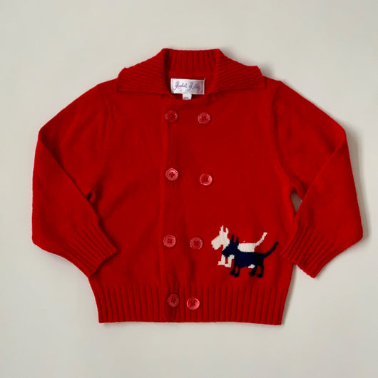 Rachel Riley Red Scottie Dog Motif Cardigan: 6 Months