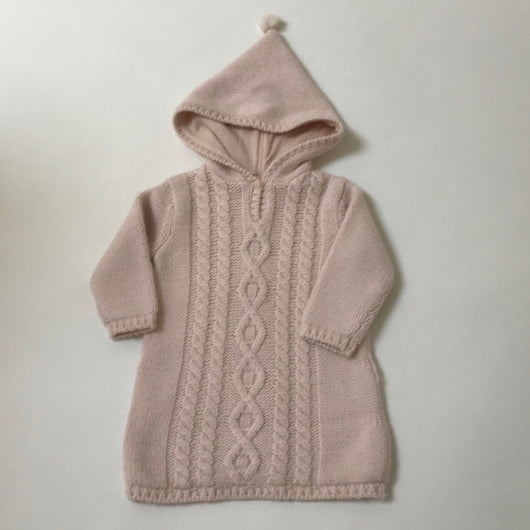 Bonpoint Pale Pink Hooded Burnou Cardigan: 18 Months